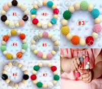 Wholesale Free Baby Soothers - Ins Infant Baby Wool Ball Soothers Teethers Beads Baby Boys girls Wooden Teething Training Nursling Raw Wood Teeth Baby Toys 7colors choose