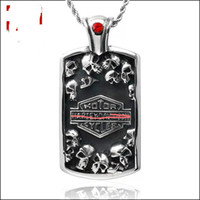 Wholesale necklace for men s - 316 STAINLESS STEEL biker skull pendant motocyle vintage punk hip hop jewelry for men,s statement necklaces