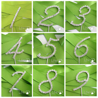 Vente en gros-1pcs Wedding Romantic Crystal Rhinestone Cake Toppers numéro 0-9 crystal Wedding Cake wedding decoration favor party Fournitures