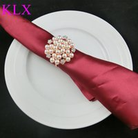 Wholesale Napkins China - Wholesale ! (200pcs lot) Fashion Rose Gold Plating Pearl Rhinestone Napkin Ring For Wedding Table Decoration ,Pre -Order