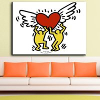 Wholesale original digital art for sale - Keith Haring Original Pop ART Giclee Print On Canvas Cartoon Classical Oil Painting Drawing Art Spray Abstract Wall Painting
