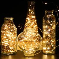 bakır dekor toptan satış-2 M 20 LEDs led dize CR2032 Pil Kumandalı Mikro Mini Işık Bakır Gümüş Tel Yıldızlı LED Şeritler Peri Dize Işıklar Noel Partisi dekoru