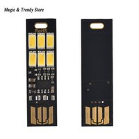 Wholesale Mini Power Bank Keychain - Wholesale- Mini Pocket Card USB Power 6 LED Keychain Night Light 1W 5V Touch Dimmer Warm Light for Power Bank Computer Laptop