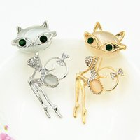 Opal Stone Broche de gato sexy Pretty Green Crystals Eyes Lovely Cat Brooch Pin Meninas Scarf Pins