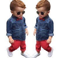 Wholesale Cheap Wholesale Vintage Clothing - children boy bow tie fashion suits long sleeves denim shirt+trousers solid color vintage clothing sets for kids baby boy cheap set wholesale