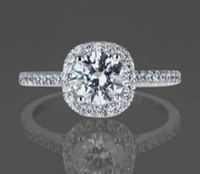 Wholesale Si Diamond Ring - 1 CT simulation Diamond Engagement Ring Round Cut D SI 14K White Gold Enhanced
