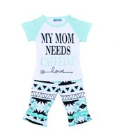 Wholesale girls fashion t shirts - Girls Ins Clothing Sets T-shirt Middle Pants Letters Print Fashion Suits Infant Outfits Kids Tops & Shorts 1-5T LG2017