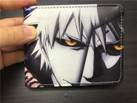 Wholesale Vintage Japanese Anime - Japanese Anime Bleach Kuchiki Byakuya Men Women Leather Short Wallets Coin Pocket Card Money Bags carteira masculina Wallet