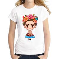 ingrosso frida kahlo tees-2017 vendita calda del fumetto messicano frida kahlo maglietta manica corta t-shirt novità tee frida kahlo stampato camicie casual