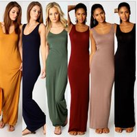 Wholesale Wholesale Sheath Dresses For Women - 15pcs Qucik selling all match Summer Casaul loose Modal Dress Stretchable Long Dress Vest Tank Beach Maxi Dress bodycon dresses For Women