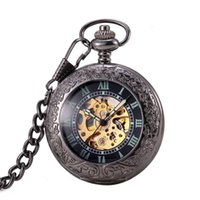 Wholesale Mechanical Old Pocket Watches - Magnifier Glass For Old Men Black Color Mechanical Pocket Watches Skeleton Luxury Analog Time Automatic Pocket Watch