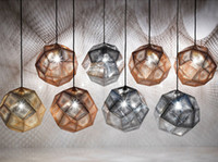 Wholesale Modern Pendent Lights - Tom Dixon Pendent Lamp Etch Shade Pendant Lamp Modern Brass Pendant Lights Gold Silver Rose Gold Geometry Box Lamp 25cm 33cm 48cm