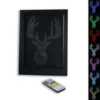 3D Buck LED Photo Frame IR Remote 7 RGB Lights AAA Battery ou DC 5V Factory Wholesale Dropship Frete Grátis