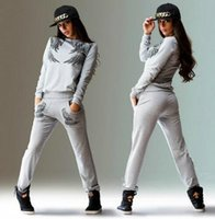 Wholesale Yoga Pattern - New Female Casual Suit Printing Wings Pattern Long-sleeved Sports Suit Women Tracksuits Apparel Wing Printing Top Two Piece Of Sets