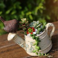 Creative Watering Can Kettle Bird Design Pots de fleurs Résine Succulent Plants Planter Home Décoration de bureau Cadeau ZA3061