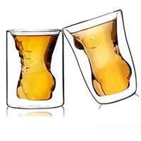 transparent nackt großhandel-Kreatives Paar-Schalen-nackter Muskel-Mann-sexy Frauen-Wein-Glas / Getränkschale / Cocktailglas / Whiskyglas