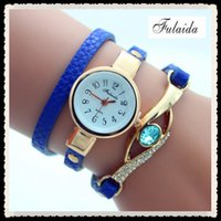Wholesale Wristwatches Chain - 2017 Woman Crystal watches Winding Bracelet Watch Bowknot Crystal Synthetic Leather Chain Wristwatch Quartz Wrist Watch
