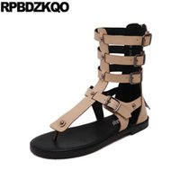 Wholesale Designer Summer Boots - Open Toe 2017 Designer Shoes Women Luxury Cheap Flat Retro Rivet Gladiator Summer Ankle Short Roman Boots Back Zipper Nude Cool