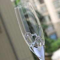 Wholesale Heart Champagne Flutes - Wholesale- 1pair Round New Real Shiny Silver Plated Champagne Flutes Glasses With Double Heart Glass For Weddings Or Party  Lovers