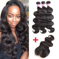 Wholesale Wholesaler Bundles Hair Extensions - Peruvian Virgin Hair Bundles Brazilian Body Wave Hair Weaves Silk Base Closure Cheap Remy human hair bundle lace closure Weaves Extensions