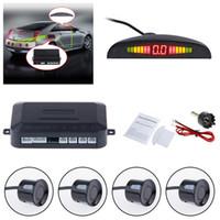 sensores de respaldo automático al por mayor-Sensor reverso auto del aparcamiento LED del sensor del coche con el monitor de reserva del aparcamiento del coche de la copia de seguridad de la exhibición del contraluz de 4 sensores