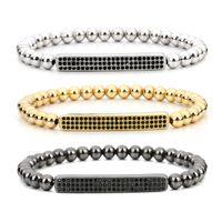 Wholesale 5mm Beads Black Bracelet - XINYAO 2017 Anil Arjandas Men Bracelet Round 5mm Copper Beads & Natural Hematite Stone Micro Pave Black CZ Charm Bracelets F5098