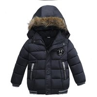 Wholesale Overcoat Baby Hooded - Baby Boys Winter Smile Overcoat Children Thick Coat Children Clothes Outwear Cotton Jacket Infant Boy Hooded Jacket For 90-110