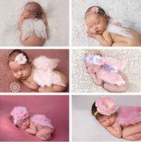 Wholesale Newborn Wholesale Feather Headbands - 6 styles Baby Angel Wing + Chiffon flower headband Photography Props Set newborn Pretty Angel Fairy Pink feathers Costume Photo headband Pro