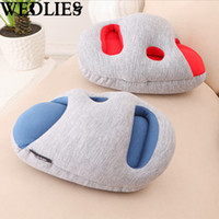 Wholesale Wholesale Ostrich Pillows - Wholesale- Mini Ostrich Nap Hand Hold Pillow Cushion Lounger Travel Pillows Soft Hand Pillow Home Office Siesta Cushion Pad Low Noise
