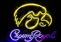 Wholesale Crown Royal Neon Signs - New Tat tire Neon Beer Sign Bar Sign Real Glass Neon Light Beer Sign ME 537-NCAA- Iowa Hawkeyes Crown Royal 16x14