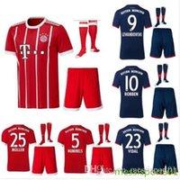 Wholesale Shorts Top Sets - top quality 2017 2018 Munich Adult kit with scoks home Away Soccer jersey set VIDAL COATA MULLER ROBBEN BOATENG ALABA 17 18 football shirt