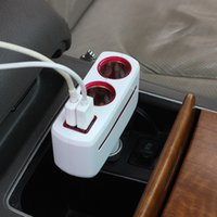 Universal 2 Ways Car Auto cigarro isqueiro Socket Splitter Power Adapter 80W Dual USB Car Charger com luz LED