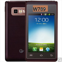 Wholesale Double Sim 3g - W789 luxury gold   luxury blue 3G mobile phone dual card dual standby dual-screen double-screen flip, big font, big button, dual-network dua