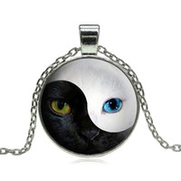 Wholesale Silver Blue Chokers - Unique YIN YANG Cat Pendant Necklace Personality Blue Cat Eye Silver Glass Dome Round Choker Necklace for Women Men Jewelry