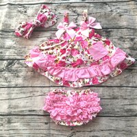 Wholesale Swing Dress Bloomers Set - Wholesale- 2016 baby summer dress baby girl swing tops swing dress pink flower swing outfits with matching ruffed bloomer and headband set