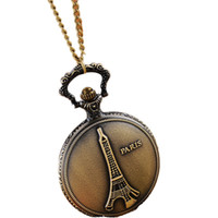 Wholesale Eiffel Tower Pocket Watch Necklace - Wholesale-Paradise Hot Eiffel Tower Paris Women Bronze Chain Necklace Pocket Watch Free Shipping July22