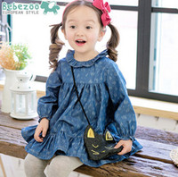 Wholesale Dress Cowboy Baby Girl - Baby Girls denim dress Bebezoo children cowboy printed long sleeve dress 2017 spring kids falbala collar princess dress Girls clothes T1313