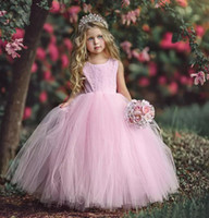 Wholesale Crew Cuts Girls - Lovely 2018 Pink Lace Tulle Ball Gown Flower Girl Dresses For Wedding Girls Pageant Gown Crew Cut Out Back Custom Made China EN111515