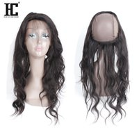 Wholesale Lace Closure Cap - Brazilian Peruvian Malasian Indian Virgin Human Hair Pre Plucked 360 Lace Band Frontal With Cap Top 360 Lace Frontal Closure Free Part HC