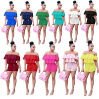 Wholesale 2017 New Style Spring Summer Women Sexy Soid Casual Bodycon Playsuit Mujer Pink Ruffles Slash Neck Romper New Arrivals Fashion Jumpsuits