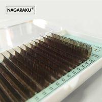 Wholesale false hair brown resale online - NAGARAKU Mix mm in one case Individual Eyelashes False Mink Colored Fake Natural Eyelash Extension Color EyeLash Brown