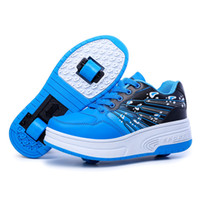 Wholesale Roller Skate Shoes Kids - New Kids Adults Roller Shoes Athletic Boys Girls Sneakers Run With Wheels Con Ruedas Automatic Skating Shoes breathable for men woman blue