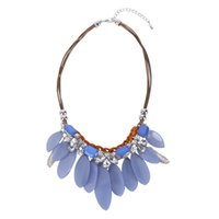 New Arrival Statement Colar Chunky Chain Elegant Crystal Necklace Blue Beads Geometry Drop Pendants Golden Bib Necklace Jóias XL010015