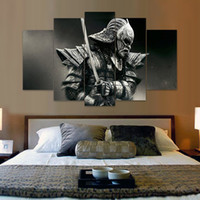 Wholesale Picture Paintings Living Room - Unframed 5 Panel Samurai Canvas Painting Fashion Home decor Wall Art Picture Living Room Wall Movie Poster Paintings
