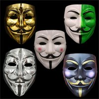 Wholesale Horror Guy - new V mask Vendetta white yellow Mask Anonymous Guy Fawkes Fancy Adult Costume Halloween Masks Masquerade V Masks For Halloween IC534