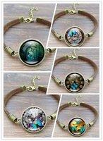 schmetterlingsseil großhandel-5 stücke Vintage Steampunk Uhr Schmetterling Bild Armbänder Armreifen Glas Cabochon Brown Seil Charme Armbänder für Frauen Schmuck