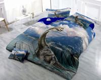 Wholesale unique printed bedding resale online - Custom Drawings Can be Customized D Unique Vivid Dinosaur Digital Printing Cotton Satin Piece Duvet Cover Sets Bedding Sets