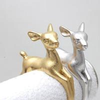 ingrosso colore argento opaco-Simpatici anelli di cervi Bambi, Anelli animali 3D regolabili Oro opaco Colore Argento Donna Bambini Migliori regali di Natale