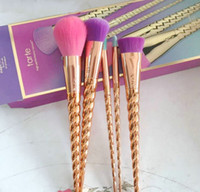 Wholesale Horn Hair - New tarte Makeup Brushes bright in color Rose Gold Unicorn horn Makeup tools DHL free shipping