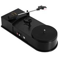Wholesale Vinyl Phonograph Records - Wholesale-3.5mm USB 2.0 Mini Phonograph Turntable Record Audio Player Vinyl Turntable to MP3 WAV CD Converter Support 33   45PRM Function